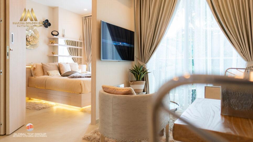 ห้องสวีท เวนิส แบบหนึ่งห้องนอน ใน มาริน่า โกลเด้น เบย์ คอนโดพัทยา
